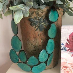 Anthropologie colors of ocean suede tie necklace.